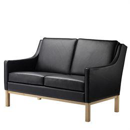 Erik Wørts 2 pers. sofa - L601-2 - Eg/sort læder