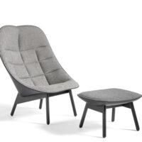 HAY Uchiwa Loungestol M. Skammel - Quilt - Fairway Grey 307-201/Sort Silk Læder