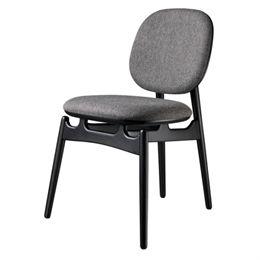 Hans-Christian Bauer stol - J161 PoSpiSto - Sort eg/gråt tekstil