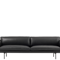 Muuto Outline Sofa - 3-pers. - Sort Refine Læder
