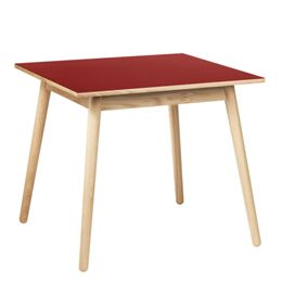 Poul M. Volther 4 pers. spisebord - C35A - Eg/rød linoleum