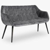 Sofa, grey, velvet, black legs