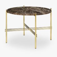TS Coffee Table - Dia 55 Brass base, marble brown top