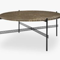 TS Coffee Table - Dia 80 Black base, marble brown top